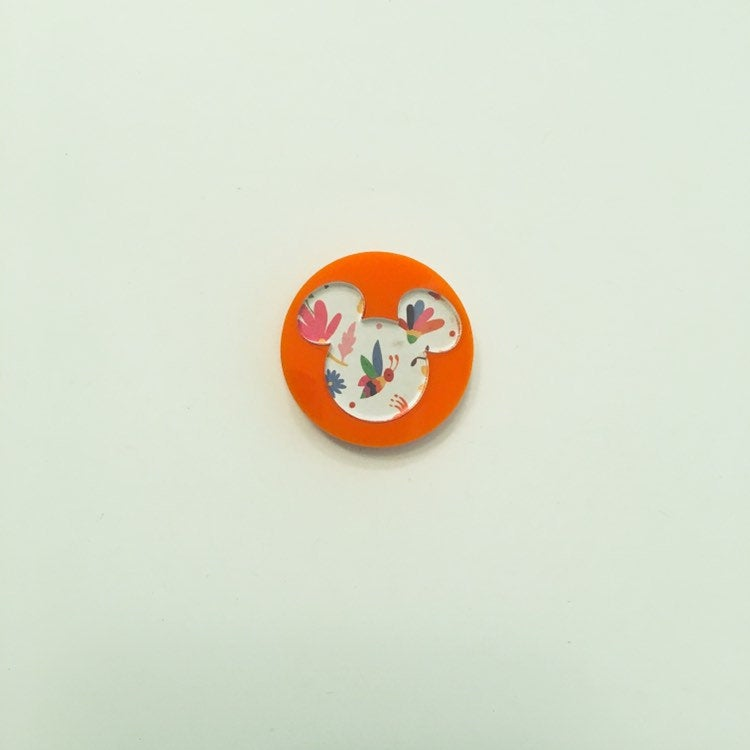 Flare Printed Mouse Lapel Pin in Orange with Alebrijes