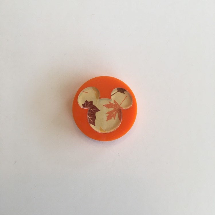 Flare Printed Mouse Lapel Pin in Orange with Autumn Leaves