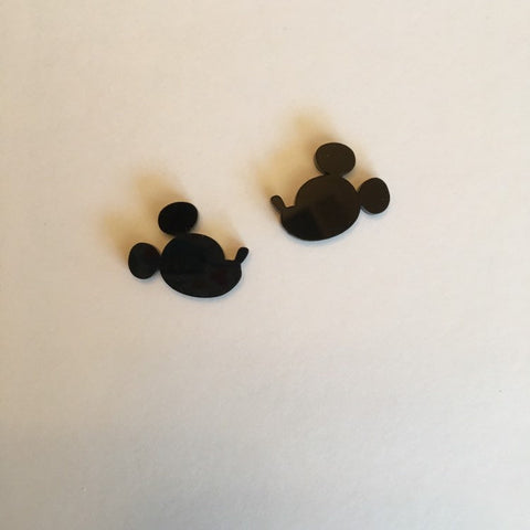 Flare Mouse Silhouette Large Earrings in Black