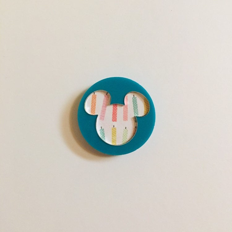 Flare Printed Mouse Lapel Pin in Teal with Birthday Candles