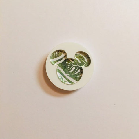 Flare Printed Mouse Lapel Pin in White with Palm Leaf