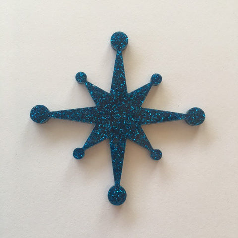 Flare Starburst Brooch in Blue Glitter