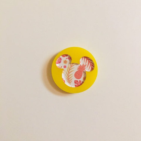 Flare Printed Mouse Lapel Pin in Yellow with Tropical Floral Print