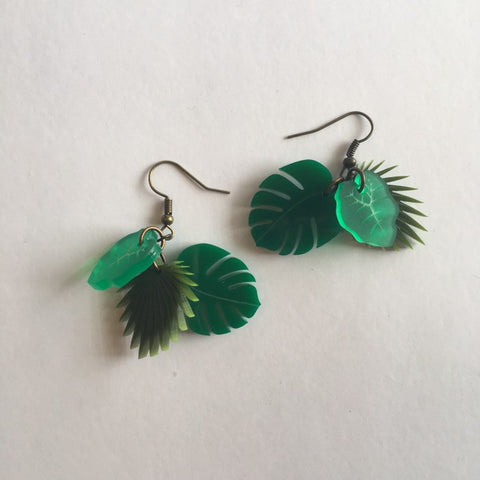 Flare Tropical Leaf Dangler Earrings