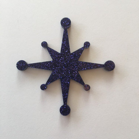 Flare Starburst Brooch in Purple Glitter