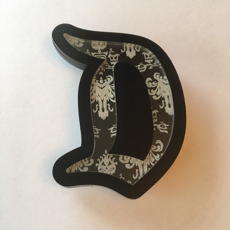 "Flare Lite-Up™ Haunted Gothic ""D"" Brooch"