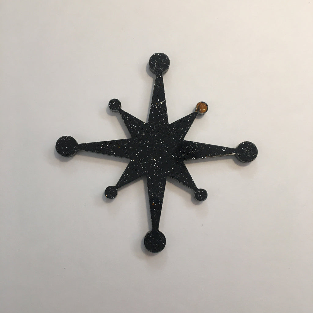 Flare Starburst Brooch in Black Glitter