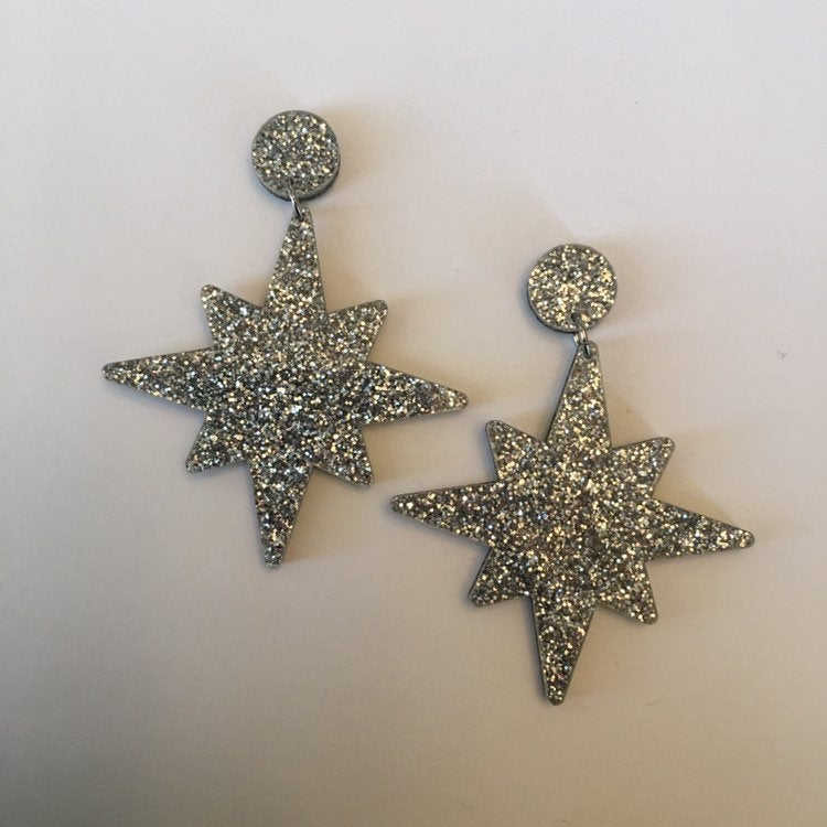Flare Starburst Dangler Earrings in Silver Glitter