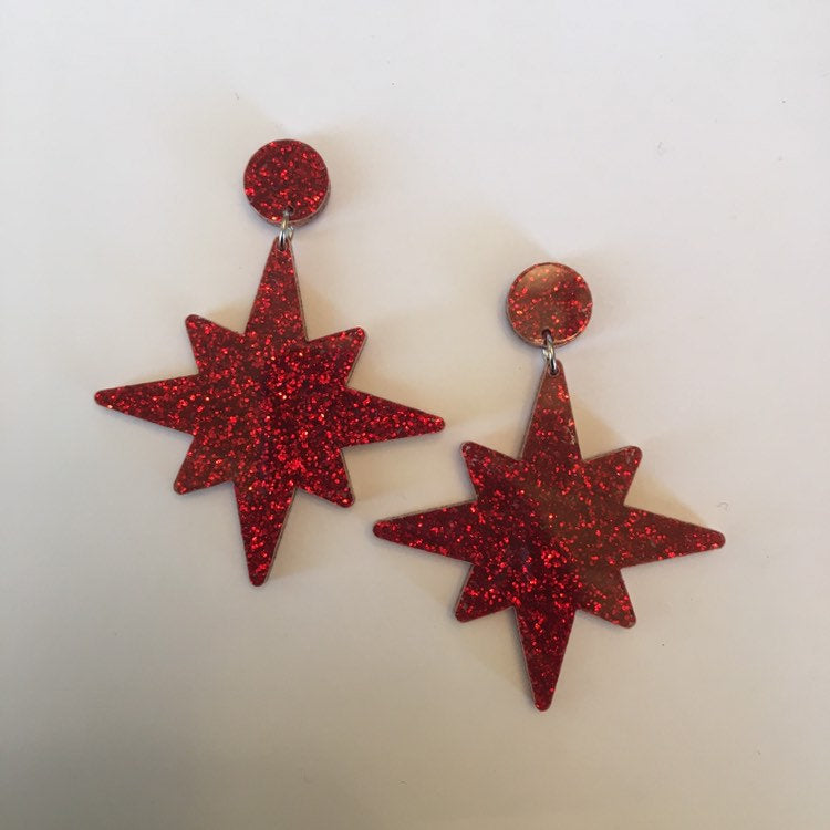 Flare Starburst Dangler Earrings in Red Glitter