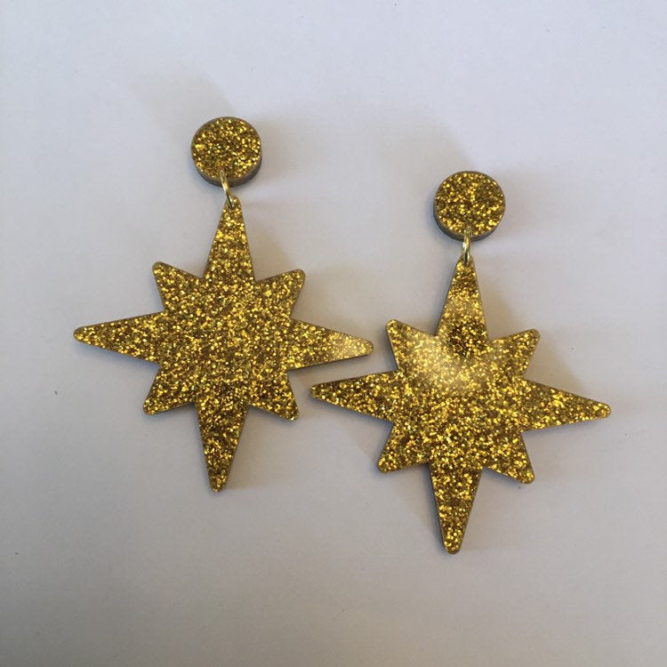 Flare Starburst Dangler Earrings in Gold Glitter