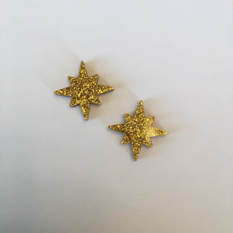 Flare Starburst Earrings in Gold Glitter