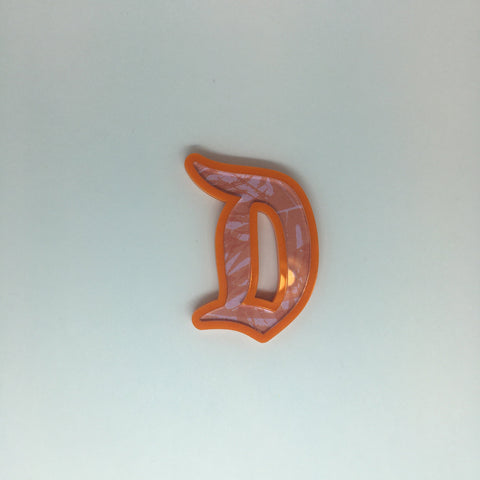 "Flare Printed Gothic ""D"" Brooch in Orange with Pink Palm Leaves"