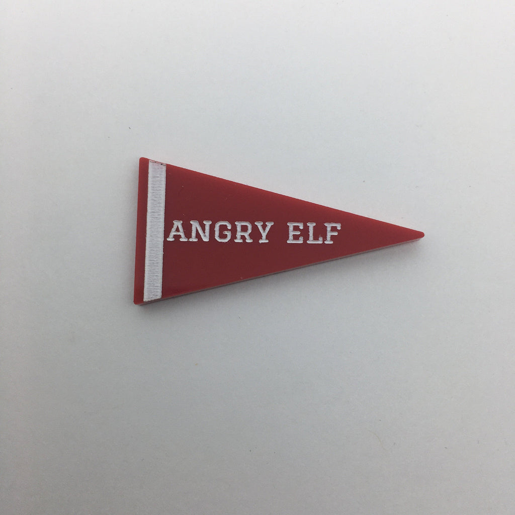Flare Elf Pennant Lapel Pin - Angry Elf