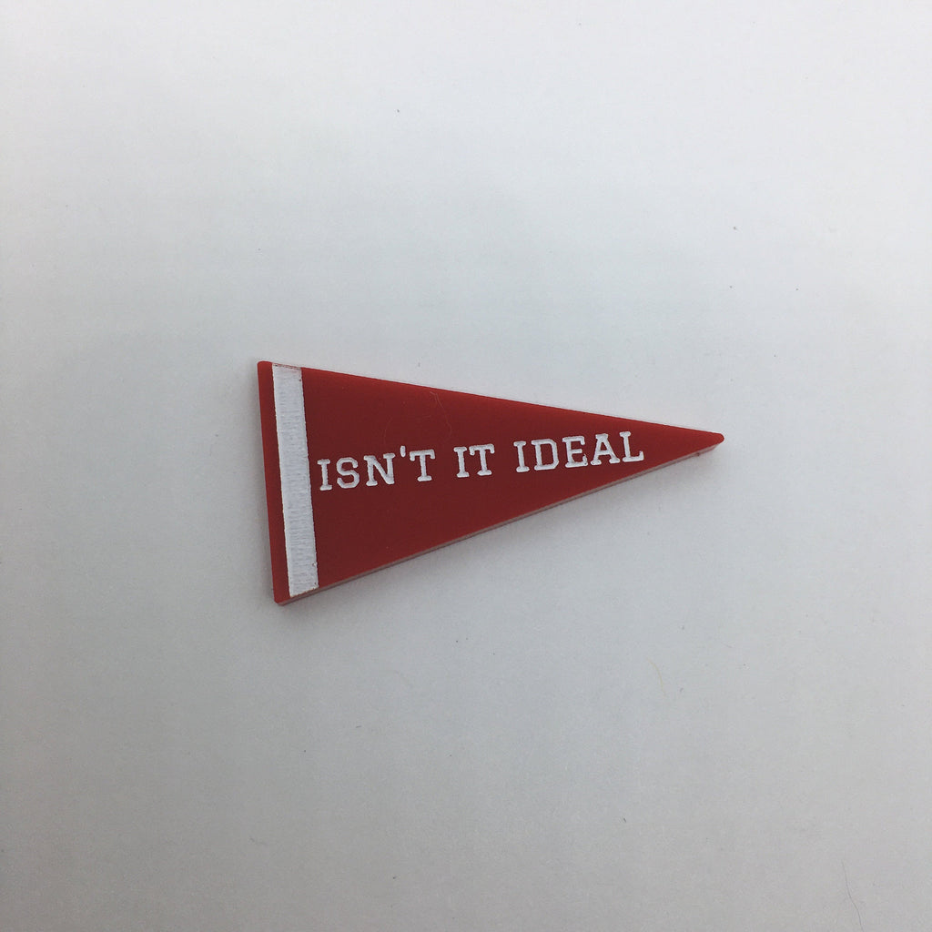 Flare White Christmas Pennant Lapel Pin - Isn't It Ideal