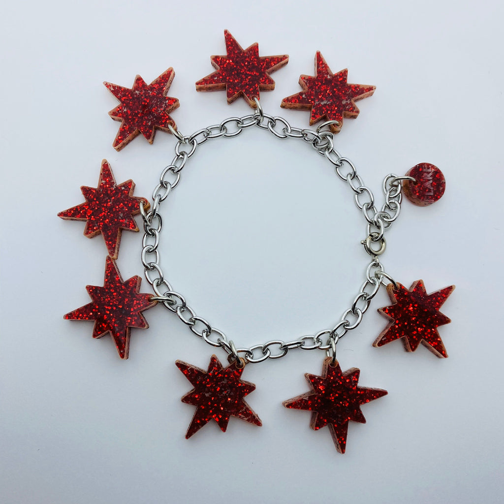 Flare Starburst Bracelet in Red