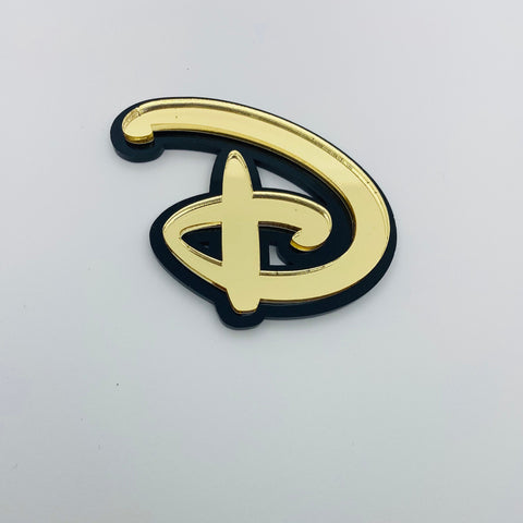 "Flare Layered Signature ""D"" Brooch in Gold Mirror over Black"