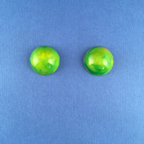 Bakelite Large Round Sparklite™ Earrings in Green