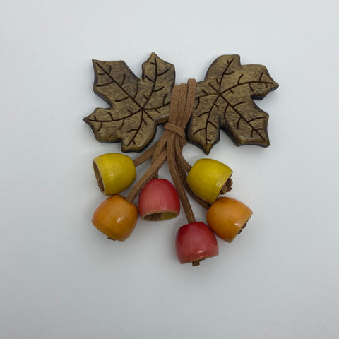 Wooden Autumn Leaf Bell Litewood™ Brooch