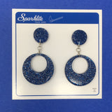 Confetti Lucite Round Dangler Sparklite™ Earrings in Royal