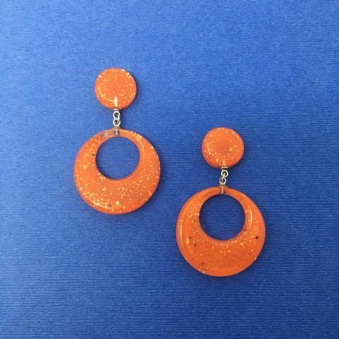 Confetti Lucite Round Dangler Sparklite™ Earrings in Carrot