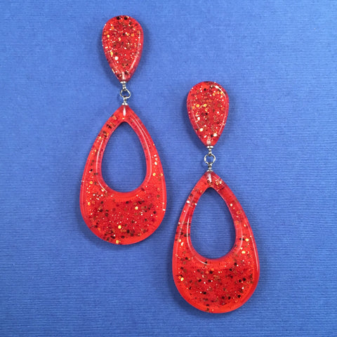 Confetti Lucite Teardrop Sparklite™ Earrings in Carrot