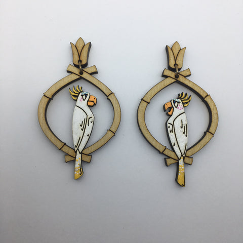 Hand Painted Wooden Showgirl Birds Litewood™ Earrings