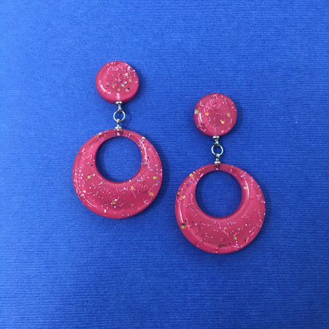 Confetti Lucite Round Dangler Sparklite™ Earrings in Bubblegum
