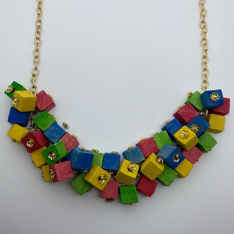 Wooden Haskell Cube Litewood™ Necklace in Primary