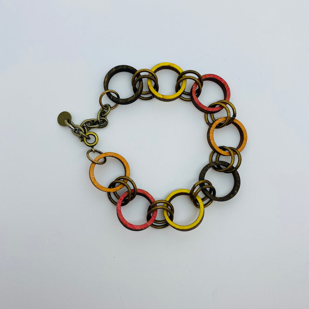 Wooden Brass Haskell Chain Litewood™ Bracelet in Autumn