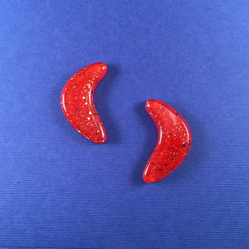 Confetti Lucite Large Boomerang Sparklite™ Earrings in Carrot