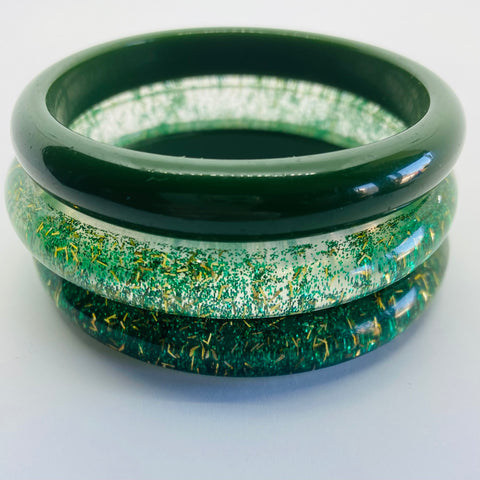 Confetti Lucite Narrow Sparklite™ Bangle Set in Shamrock