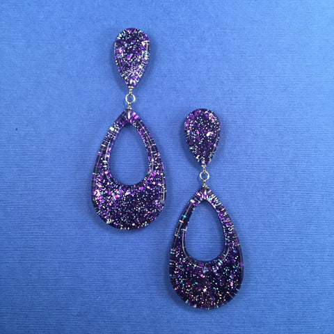 Confetti Lucite Teardrop Sparklite™ Earrings in Eggplant