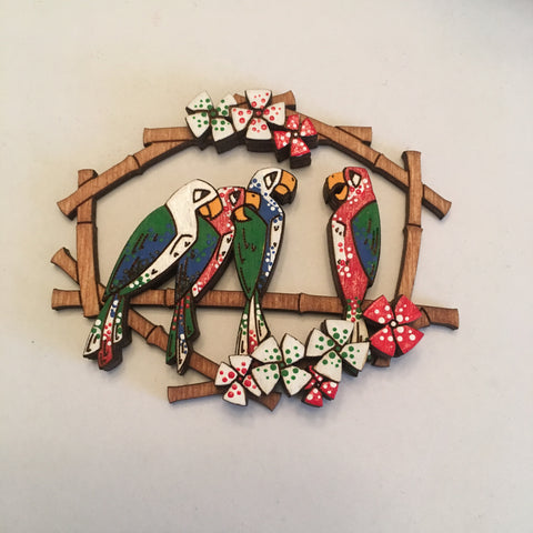 Hand Painted Wooden Tiki Birds Litewood™ Brooch Disney World Version