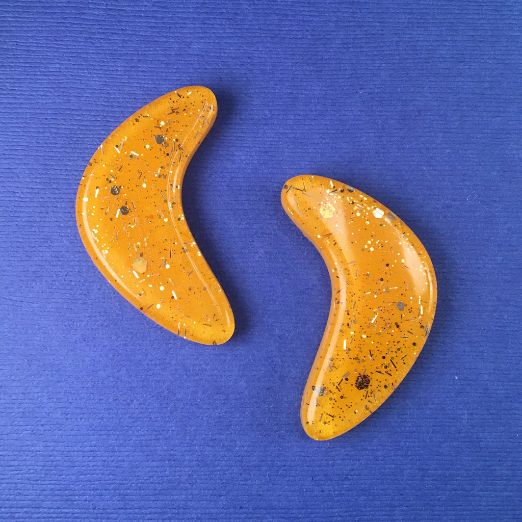 Confetti Lucite Extra Large Boomerang Sparklite™ Earrings in Sunshine