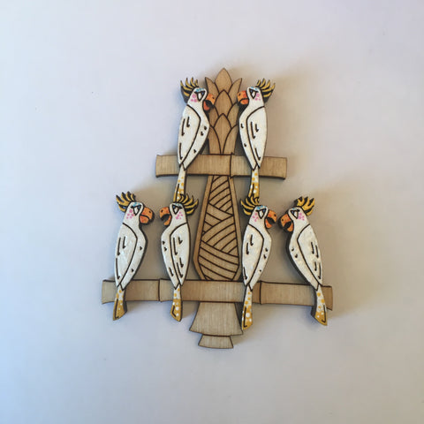 Hand Painted Wooden Showgirl Birds Litewood™ Brooch