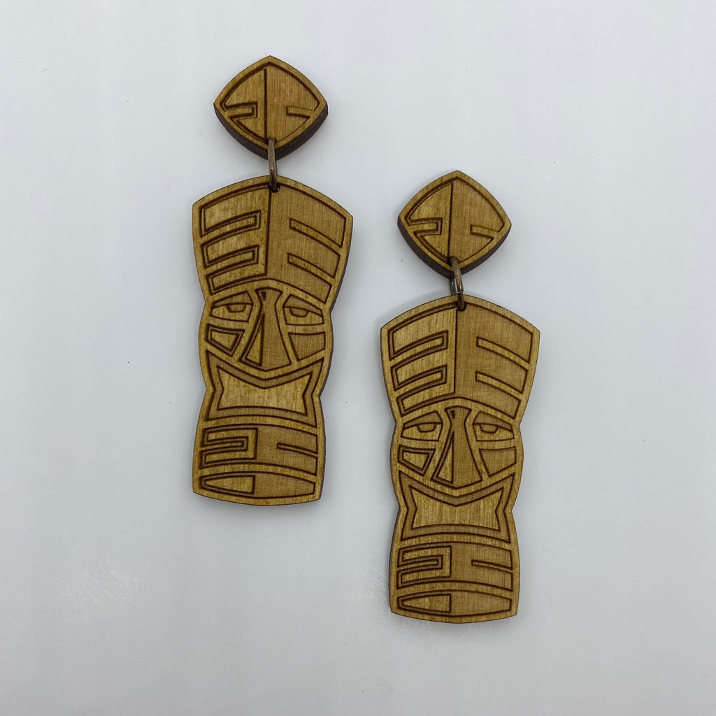 Wooden Tiki Totem Litewood™ Dangler Earrings