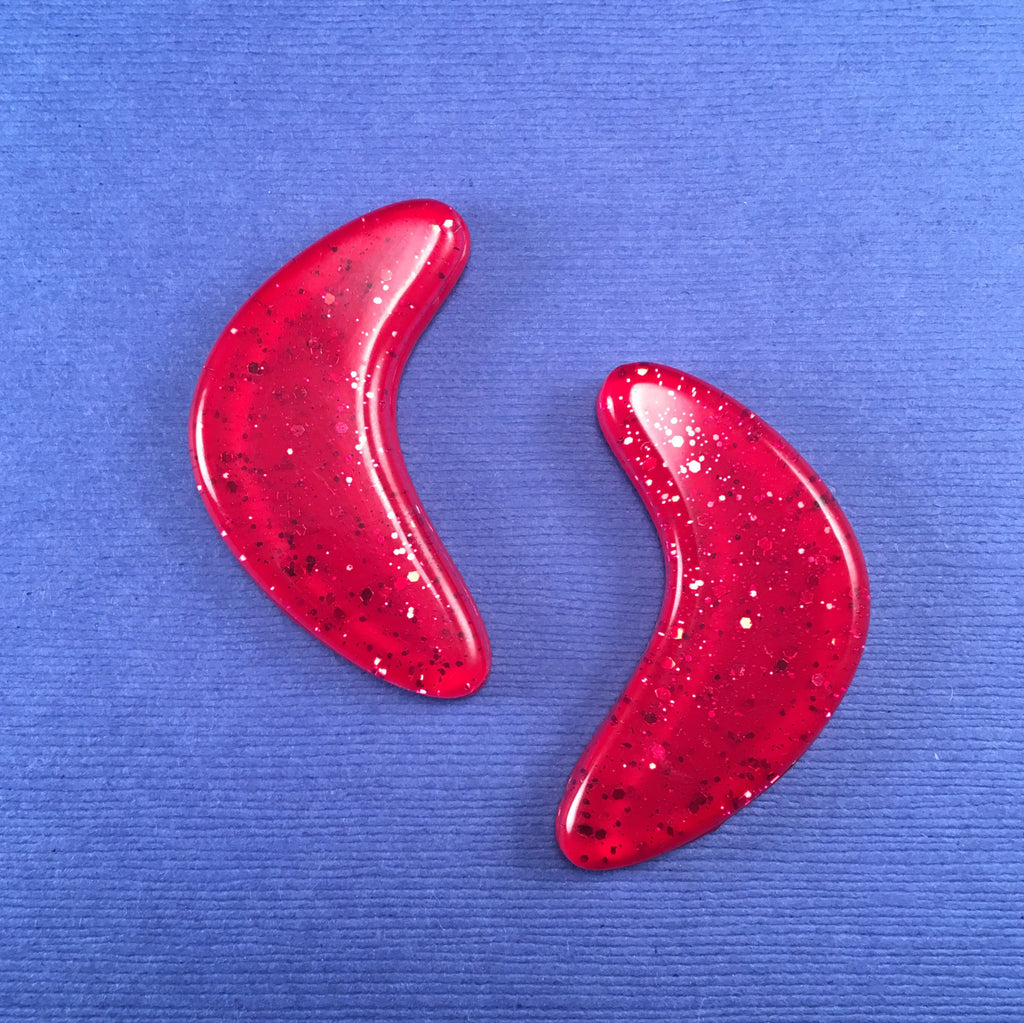 Confetti Lucite Extra Large Boomerang Sparklite™ Earrings in Ruby