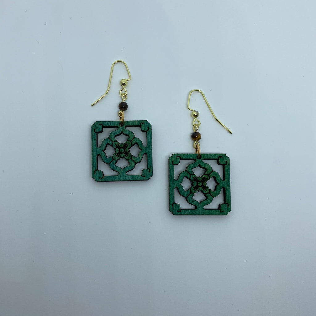 Wooden Jade Tile Litewood™ Dangle Earrings