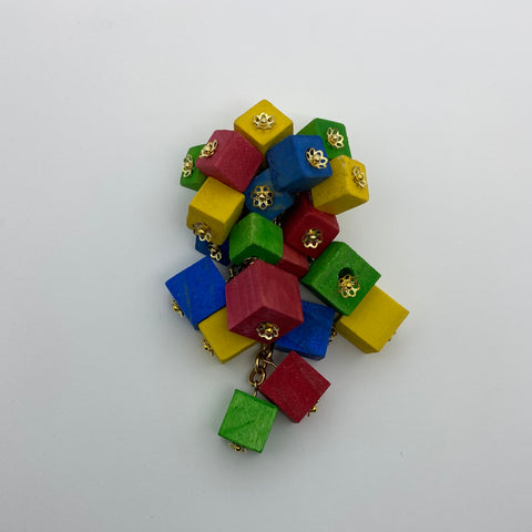 Wooden Haskell Cube Litewood™ Brooch in Primary