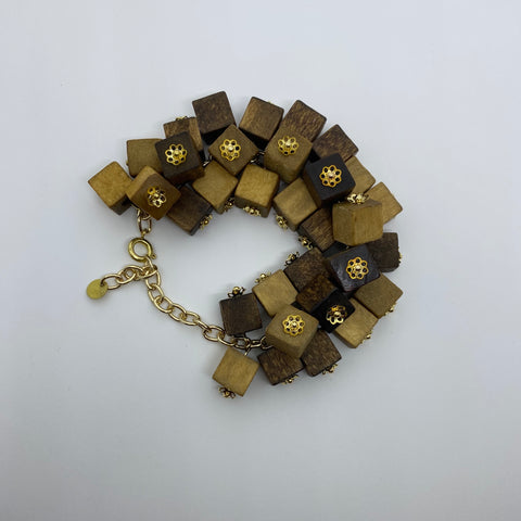 Wooden Haskell Cube Litewood™ Bracelet in Natural
