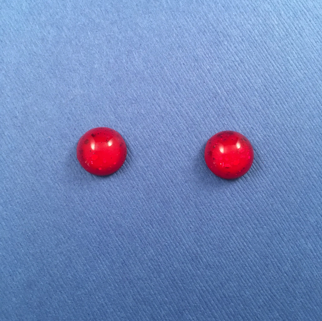 Confetti Lucite Mini Round Sparklite™ Earrings in Ruby