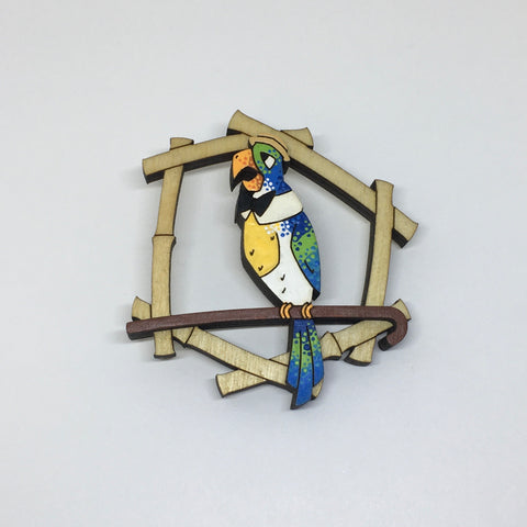Hand Painted Wooden Barker Bird Litewood™ Brooch