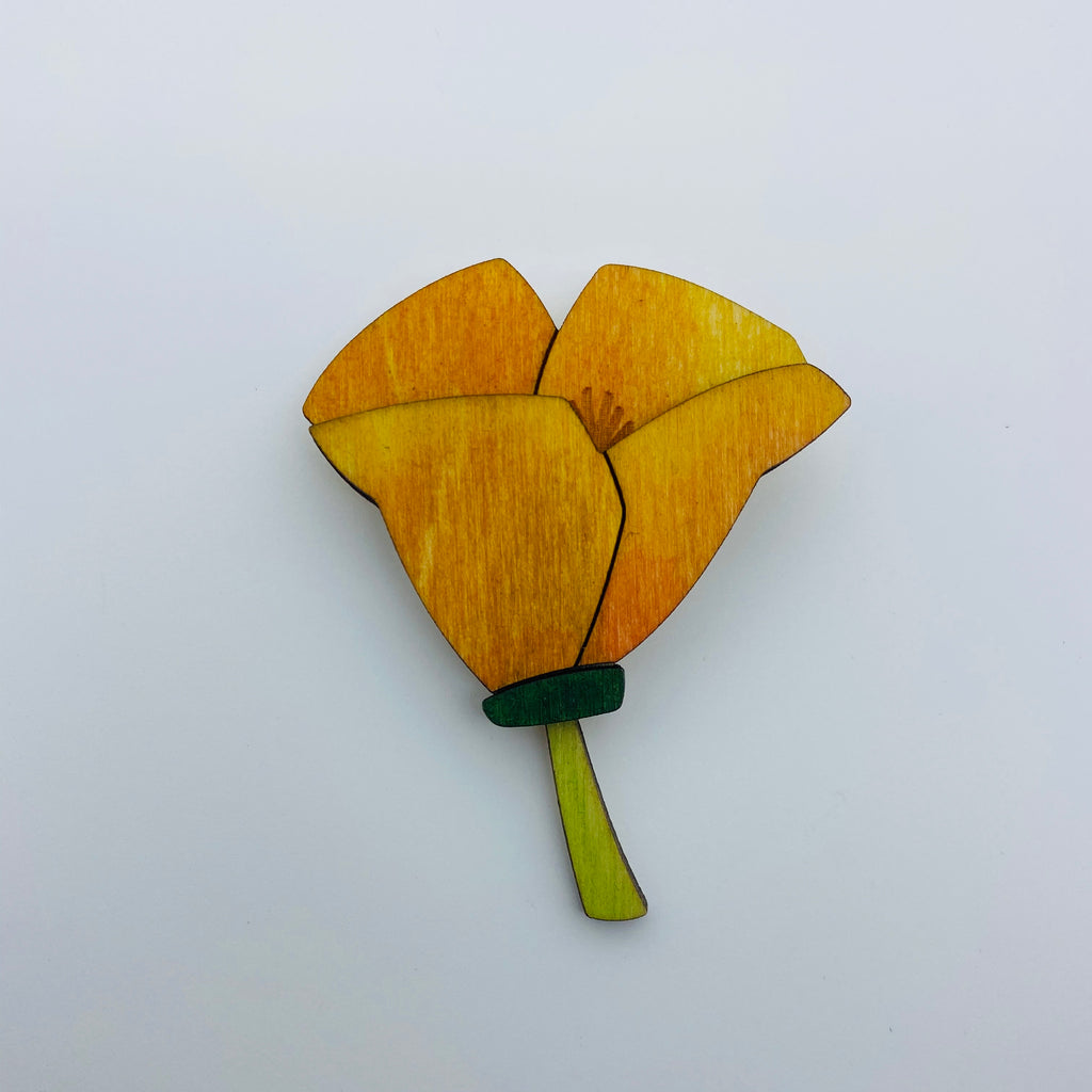 Wooden Poppy Litewood™ Brooch