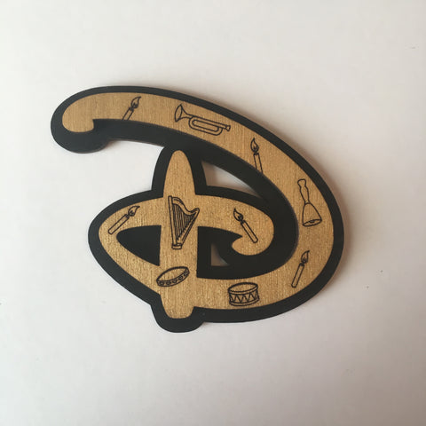 "Wooden Seance Signature ""D"" Litewood™ Brooch"