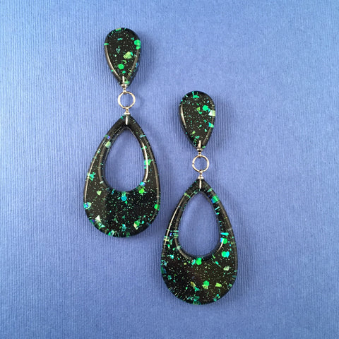 Confetti Lucite Teardrop Sparklite™ Earrings in Galaxy