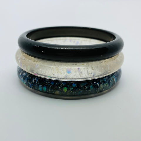 Confetti Lucite Narrow Sparklite™ Bangle Set in Galaxy