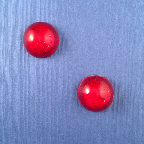 Confetti Lucite Large Round Sparklite™ Earrings in Ruby