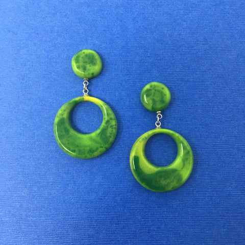 Bakelite Round Dangler Sparklite™ Earrings in Green