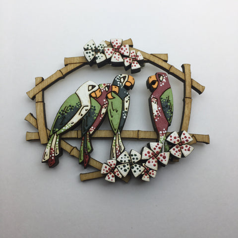 Hand Painted Wooden Tiki Birds Litewood™ Brooch Disneyland Version