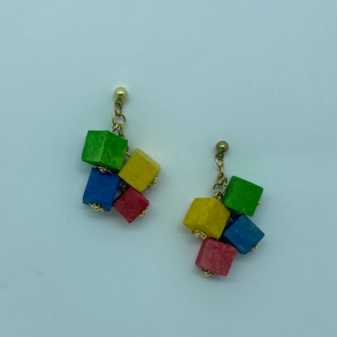 Wooden Haskell Cube Litewood™ Earrings in Primary